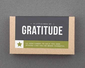 "Gratitude Journal Prompts, Idea Box, Self Care, Happy Box. Grateful, Thankful. Creative Gift for Her, Woman, Friend. ""Gratitude"" (L5GRA)"