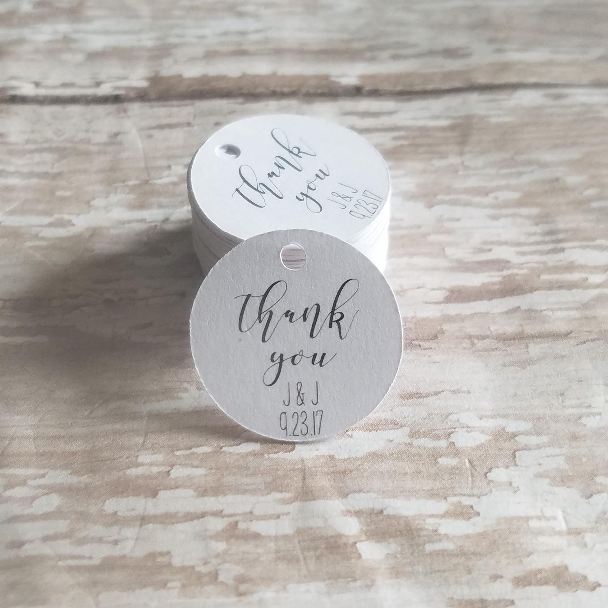 Mini Round Thank You tags 1 inch round tag wedding favor