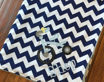 Tricycle Blanket- Personalized Baby Blanket- Minky Baby Blanket- Chevron Minky Blanket- Tricycle Baby Blanket- Bicycle Bedding