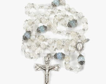 Aquamarine Rainbow Moonstone Catholic Womens Rosary, Marcasite Silver, Miraculous Medal, Ornate Crucifix, Handmade Heirloom Rosaries for Mom