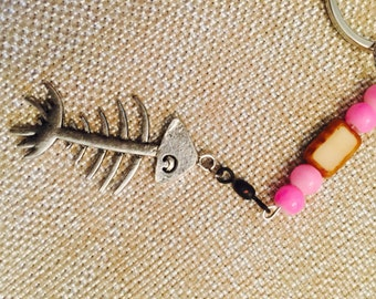 Ladies bonefish keychain with pink and brown beads