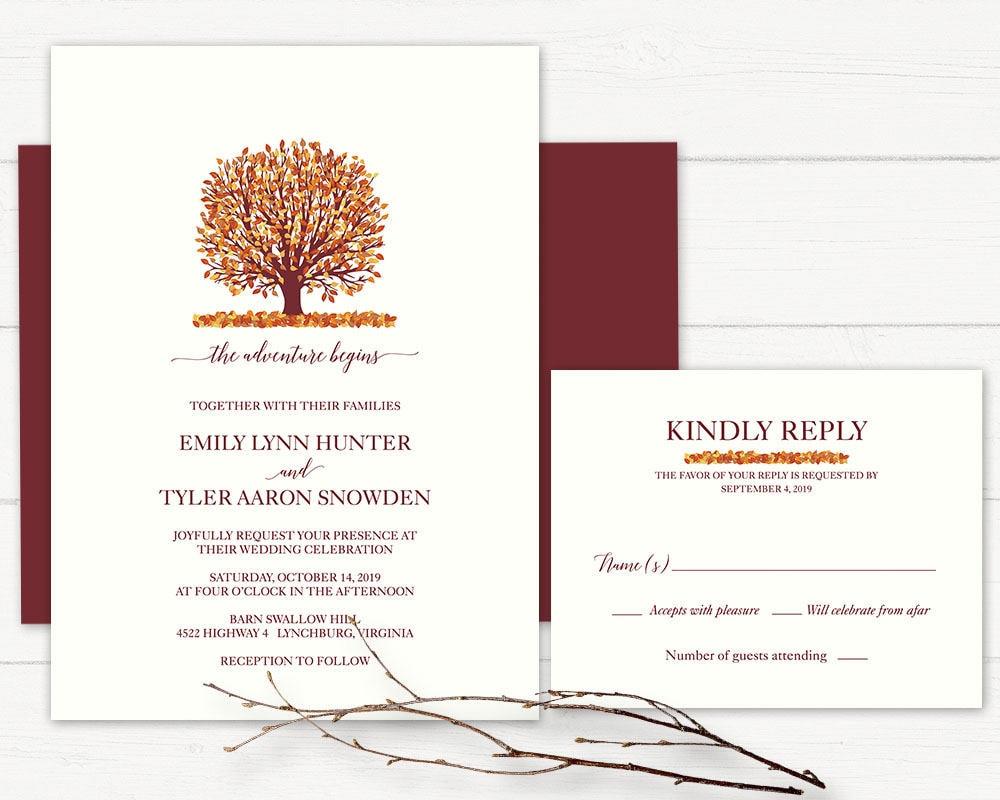 Rustic Fall Wedding Invitation Burgundy Wine Tree Wedding