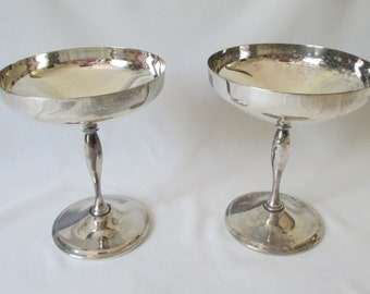 Pair Vintage Primrose Plate Shallow Coupe E.P. Brass Silver Plate Champagne Glasses ~ Perfect for a Wedding or Anniversary Toast