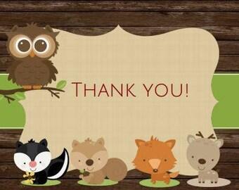 Woodland Baby Shower Folded Thank You Card Folded Baby Shower Thank You Note Folded Birthday Thank You Card Woodland Theme Deer  A18
