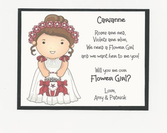 BRUNETTE Carianne - Will you be my Flower Girl Flat card - Personalized custom