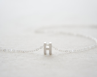 "Silver Letter, Alphabet, Initial capital ""H"" necklace, birthday gift, lucky charm, layered necklace"