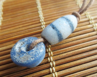 Blue and Grey Trade Beads Adjustable Necklace N303