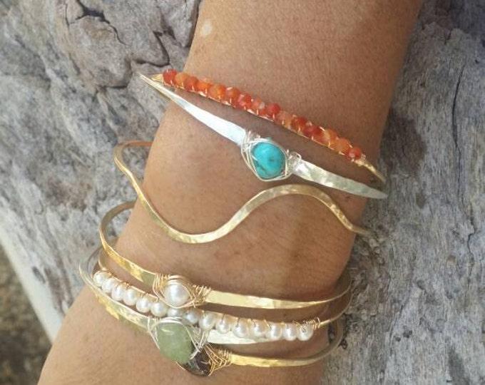 Gemstone Bracelet, Carnelian,Stacking Bangle, Sterling Silver, or, 16K Gold Fill, Hammered bangle, Gold Bangle, Silver Bangle, tiny bracelet