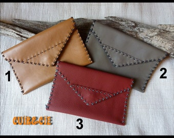 Small leather pouch * envelope * 3 color choices - 16cm x 10cm