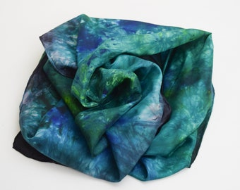 Hand Dyed Silk Scarf  Hand painted Scarf -  Blue & Green with black and turquoise Habotai Silk Batik women's fashion