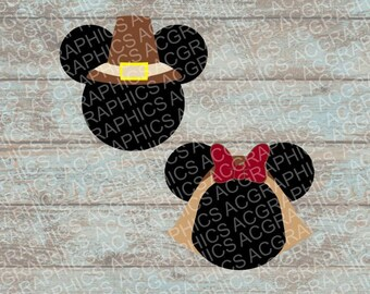 Mickey and Minnie Pilgrim Mouse Heads SVG, DXF, JPEG, and Studio Downloads
