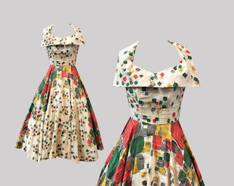 1950s Geometric Atomic Squares Print Dress Quilted Rhinestones Claudia Young