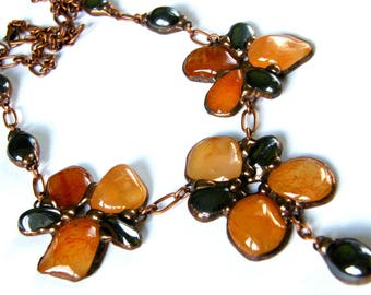 Stones Flower Necklace/Carnelian Necklace/Floral Necklace/Brown Necklace/Bloodstones with hematite/gift for her/for woman/for girl/Witrazka