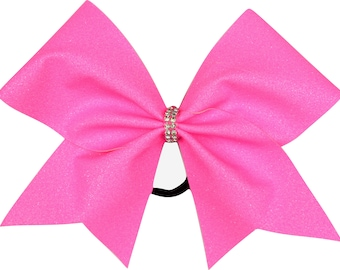 Neon Electric Pink Glitter Cheer Bow