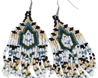 Beaded Southwest Earrings - Dangle - Southwest Earrings - Surgical Steel Hooks
