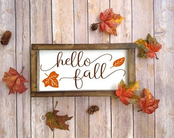 Fall Sign, Fall Decoration, Fall Decor, Hello Fall, Wooden Fall Sign, Fall Wood Sign, Fall Wooden Sign, Fall Wood Decor, Fall Mantle Decor