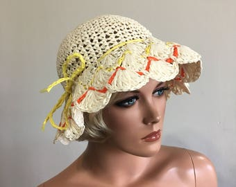 1970's Floppy Hat Raffia Floppy Hat BoHo Hat Hippie Straw Beach Hat Crocheted Beach Hat 70's Floppy Hat Wide Brim Bucket Hat Summer Hat
