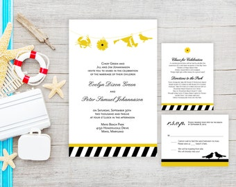 Baltimore Charm City Wedding Invitation Suite w/ Oriole, Maryland State Outline, Black Eyed Susan, Crab Charms and Stripes