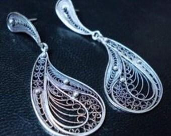 Earrings Silver Fantasy Pattern