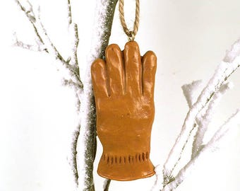 Gold Holiday Ornament, Holiday Glove Ornament, Cabin Ornament, Christmas Ornament, Gold Woodland Ornament