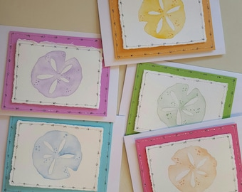 Greeting Cards-Hand Painted Sand Dollars - Set of 5