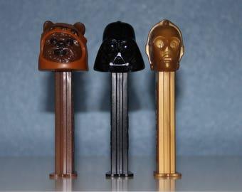 Star Wars PEZ Candy Dispensers Set of 3 - Ewok, Darth Vader, C3-PO - Collectible