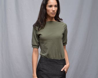 Triangle Top, Mid Sleeve, Cotton Jersey, Modern Minimal- made to order