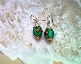 Green, Red and Orange Earrings (1864)