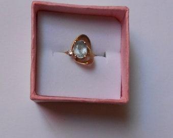 Vintage MODERNIST 10K Gold Aquamarine and Diamond Ring Size 4