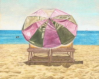 Beach umbrella acrylic painting print (Framed)