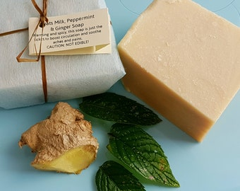 Peppermint   Ginger Goat's Milk Soap - SLS   Palm Oil Free -  Natural Soap Bar - Cruelty Free skincare - Cold Pressed Soap - Circulation