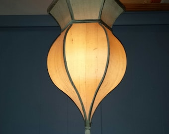 Vintage Hanging Pendant Swag Lamp with Chain and Linen Cloth Shade