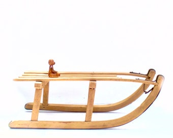 French Vintage Davos Wooden Sleigh Sledge Sled- Great Display Piece