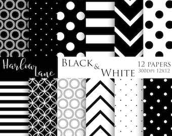 75% off sale Black and White Digital Papers, Scrapbooking Digital Paper, Black and White Designs, Wedding Paper, Invitation Paper