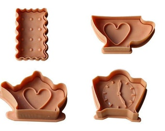 4 pc Tea Party Alice in Wonderland Inspired Fondant Cookie Cutter Plunger Mold Set