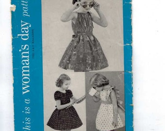 1940s Vintage Sewing Pattern Women's Day 5068 Girls Party Dress Easy Size 4 Breast 23 50s