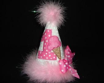 1St Girls Pink Ice Cream Cone Summer  Birthday Hat Grannies Embroidery