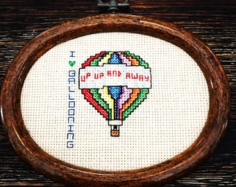 1970's Fly High I Love Ballooning Cross Stitch