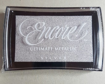 Silver Ink Pad - Silver Encore Ultimate Metallic Pigment Ink Pad Large - Ink for stamp - Inkpad for Rubber Stamp - Silver Ink - Metallic Ink