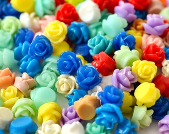 50 Pc. Tiny Resin Rose Flower Cabochons 7.5 mm