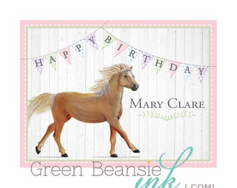 Girl's HORSE PONY PALOMINO Equestrian Lover Printable Birthday Party Backdrop 36x48 Realistic Customizable Pastels - you print