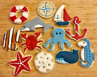 Nautical Navy Blue, Red and White Sugar Cookies