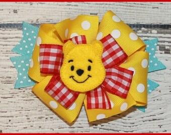 Winnie The Pooh Bear hair bow Hair bow on alligater clip or head band