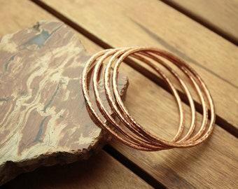"Copper bangle set | copper bangles | hammered bangles | stacking bangles | 10.5 ga | 2,4 mm | bangle bracelets | women's bangles  - 2.2"""