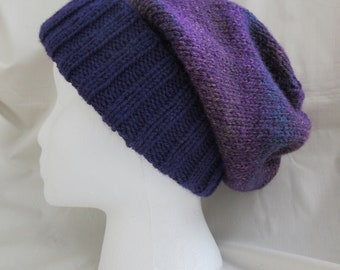 Slouchy Hat — Hipster Hat — Skully Hat — Knit Slouchy Hat — Knit Hipster Hat —Knit Slouchy Beanie — Knit Grunge Beanie Hat — Purple Knit Hat