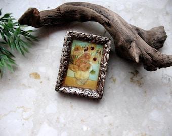 Sunflowers Van Gogh pin brooch, Impressionism brooch, 2 in 1