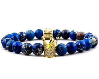 Bracelet: I Am Royalty | Blue Regalite Gemstone & 18K Gold Plated Micro Pave Crown