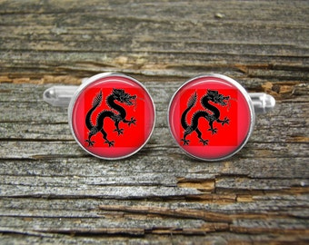 Chinese Dragon Cufflinks Red Black-Wedding-Cufflink Box-Jewelry Box-Silver-Keepsake-Gift-Man gift-Graduation-Fathers Day-Men-History-Fantasy