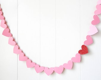 Ready to Ship Pink and Red Glitter Heart Garland / Wedding Decoration / Love Bunting / Anniversary Decor / Photo Prop / Adjustable Hand Sewn