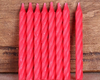 Spiral Red Candles, Red Birthday Candles, Cupcake Candles, Cake Candles, Dessert Candles, Spiral Candles